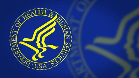 Yellow HHS Logo on a blue background