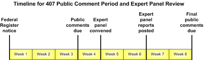 Timeline for Public Comment Period and Expert Panel Review