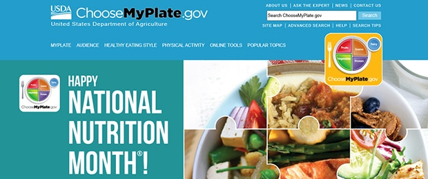 Screenshot of ChooseMyPlate.gov celebrating National Nutrition Month.