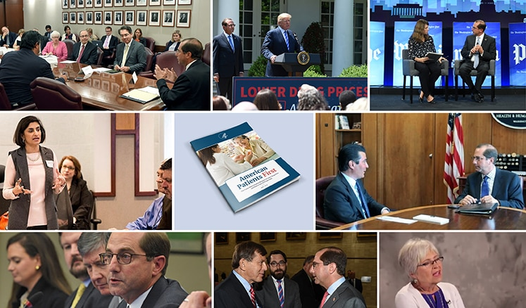 Images show actions related to the drug pricing announcement on May 11