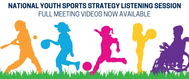 Promotional graphic for the National Youth Sports Strategy Listening Session recorded meeting videos