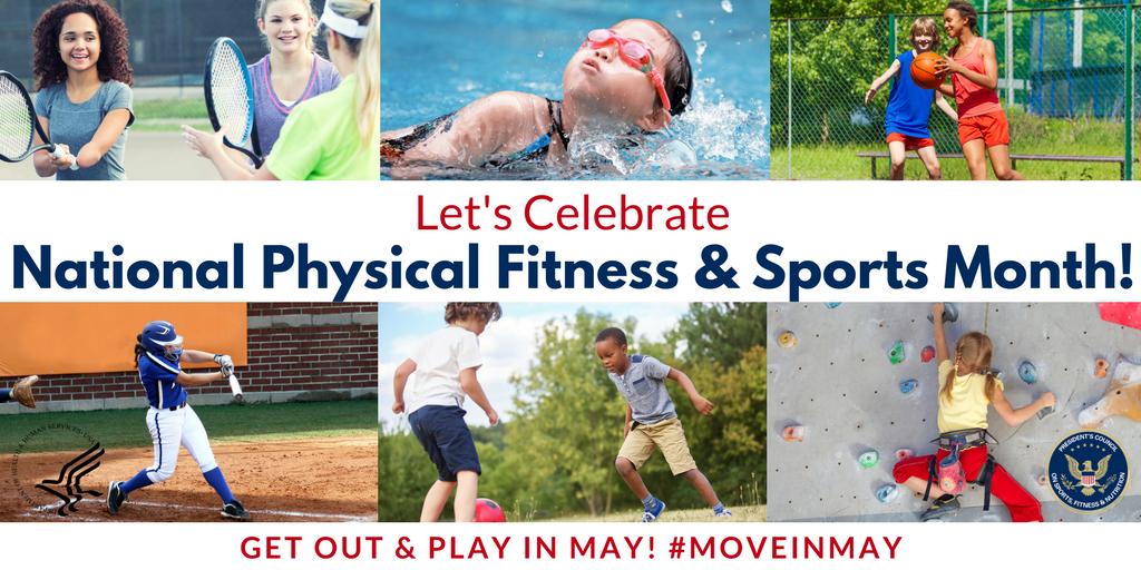 Social media graphic with images of active youth to promote National Physical Fitness and Sports Month. Graphic encourages use of hashtag #moveinmay for social media posts related to active living and sports.