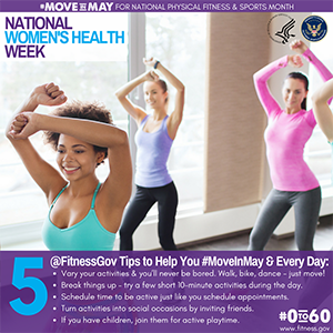 National Women's Health Week Physical Activity Tips graphic with text description below