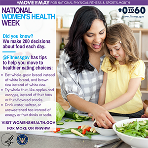 National Women's Health Week Healthy Eating Tips graphic with text description below.