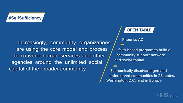 Open Table in Phoenix, AZ, is a faith-based program to build community support network and social capital