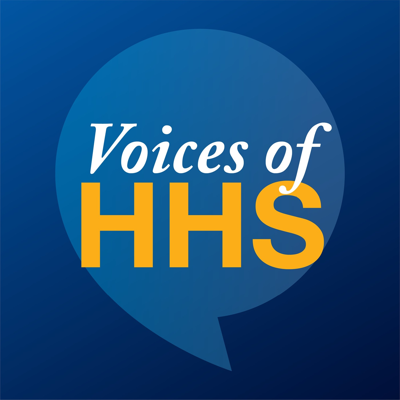 Voices of HHS logo (blue, with quote bubble)