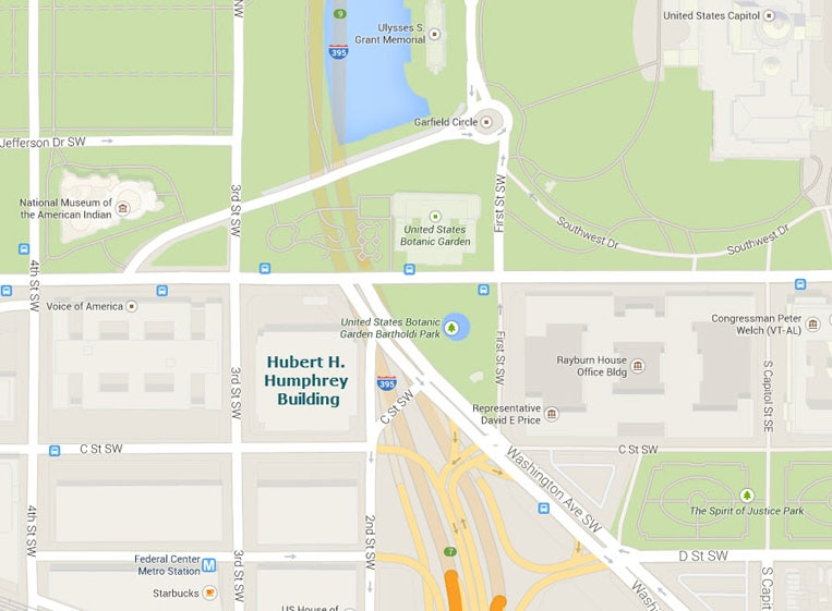 Map showing the location of the Hubert H Humphrey Building, 200 Independence Avenue SW, Washington, DC 20201.