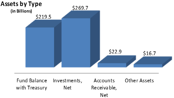 Fund Balance with Treasury: $219.5, Investments, Net: $269.7, Accounts Receivable, Net: $22.9, Other Assets: $16.7
