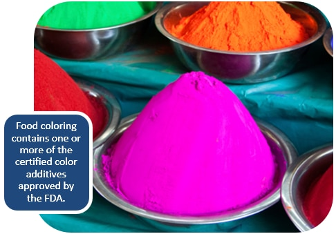 Food coloring contains one or more of the certificed color additives approved by the FDA.