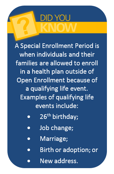 A Special Enrollment Period is when individuals and their families are allowed to enroll in a health plan outside of Open Enrollment because of a qualifying life event.  Examples of qualifying life events include:• 26th birthday;• Job change;• Marriage;• Birth or adoption; or• New address.