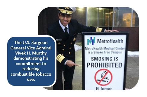 The U.S. Surgeon General Vice Admiral Vivek H. Murthy demonstrating his commitment to reducing combustible tobacco use.