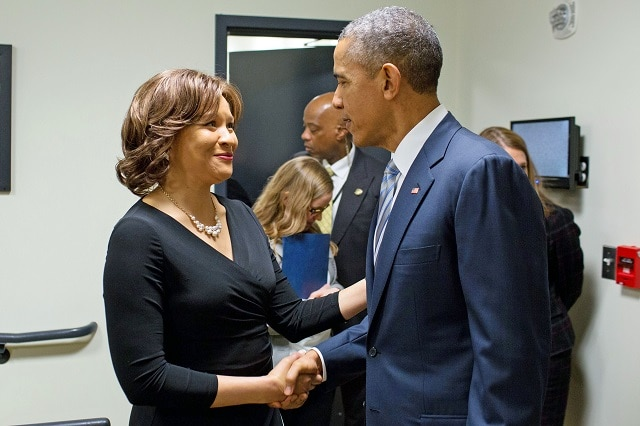 Alicia Cole with President Obama