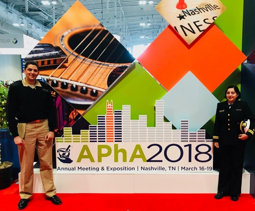 Photo of Lt. Neelam 'Nelly' Gazarian and Lt. Cmdr. Jonathan Owen in Nashville, TN at the APhA 2018 Annual Meeting & Exposition