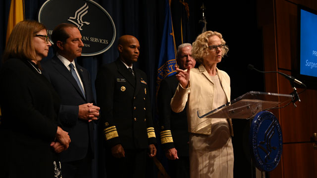 National Institute on Drug Abuse Director Nora Volkow speaks at a press conference at HHS