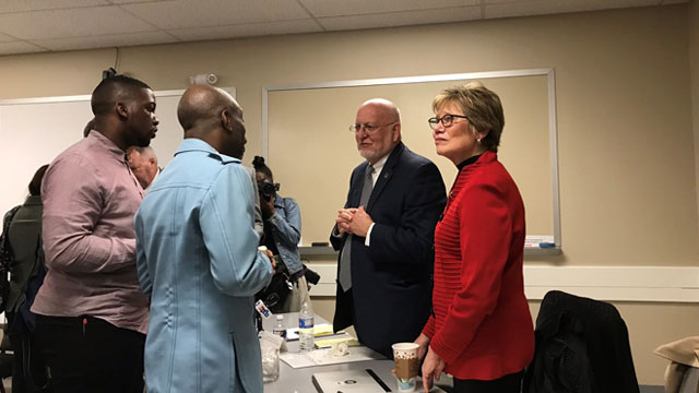 CDC Director Robert Redfield speaks to community members on an Ending the HIV Epidemic initiative visit