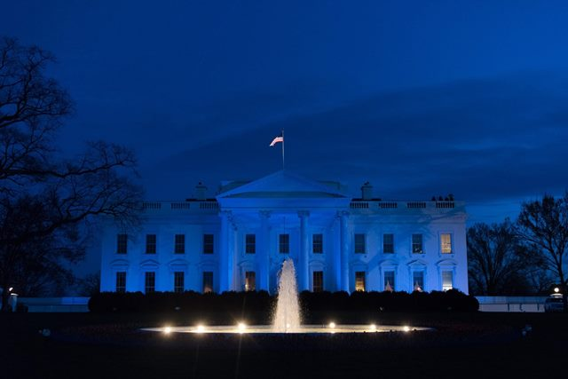 The White House is lit in blue in honor of World Autism Awareness Day in Washington D.C., Sunday, April 2, 2017 (Official White House photo by D. Myles Cullen).