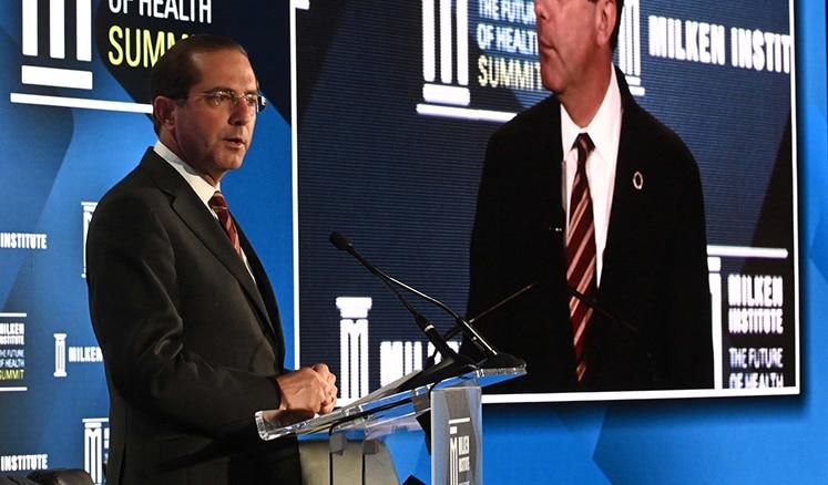 Secretary Azar talks at the Milken Institute Future of Health Summit