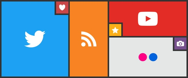 Collage of social media logos (left to right) Twitter, RSS feed, YouTube, Flickr