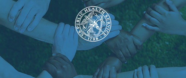 There is a bluish-green overlay of an image of arms and hands holding each other, which is the image from the cover of the report. The U.S. Public Health Service logo is centered in white.