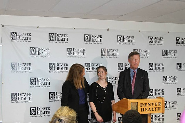 Blair Hubbard joins HHS Secretary Sylvia M. Burwell and Colorado Governor John Hickenlooper for an event at the Denver Health Medical Center on July 16, 2015.