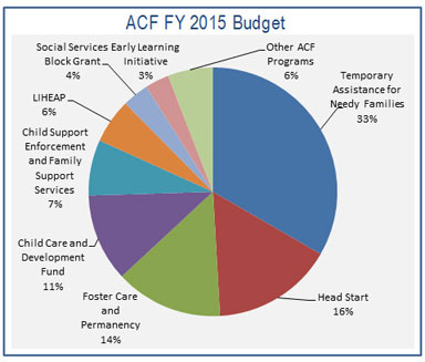 ACF FY 2016 Budget pie chart: This pie chart illustrates the components of ACF's FY 2016 Budget request: TANF (29%) , Head Start (17%), Child Care and Development Fund (16%), Foster Care and Permanency (13%), LIHEAP (8%) Child Support Enforcement and Family Support Services (7%), Social Services Block Grant (3%), and Other ACF Programs (7%). ​