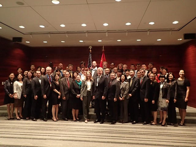 Secretary Burwell with Ambassador to China Max Baucus and more than 70 staff HHS staff who work in Beijing.