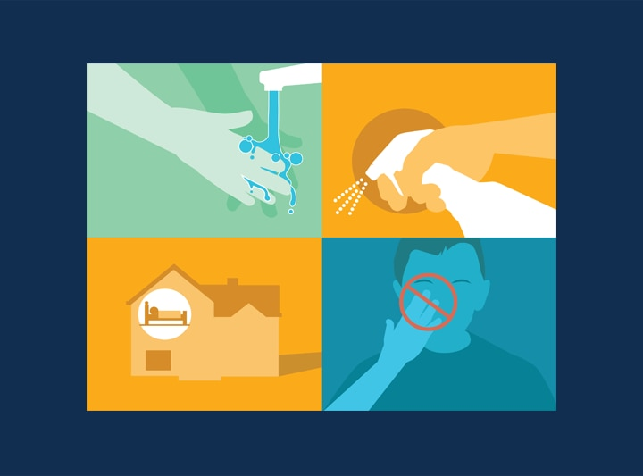 Four graphics illustrating guidance about how to protect yourself from coronavirus. The illustrations show a person washing hands under a faucet, a person spraying a disinfectant bottle, that a person should not touch their face.