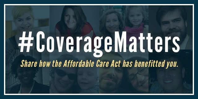 #CoverageMatters. Faces of the Affordable Care Act in the background