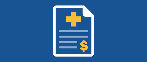 Graphic of medical bill blue background