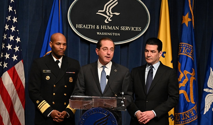 Secretary Alex Azar, U.S. Surgeon General Vice Adm. Jerome M. Adams and FDA Administrator Scott Gottlieb