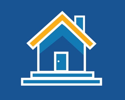 Graphic showing a white-outlined house icon against a blue background.