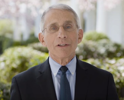 A screenshot of the Director of the National Institute of Allergy and Infectuous Disease (NIAID), Dr. Anthony S. Fauci, speaking directly to the camera.