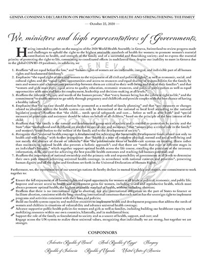 Image of Poster for Geneva Consensus Declaration. Click to view the PDF version of the poster.