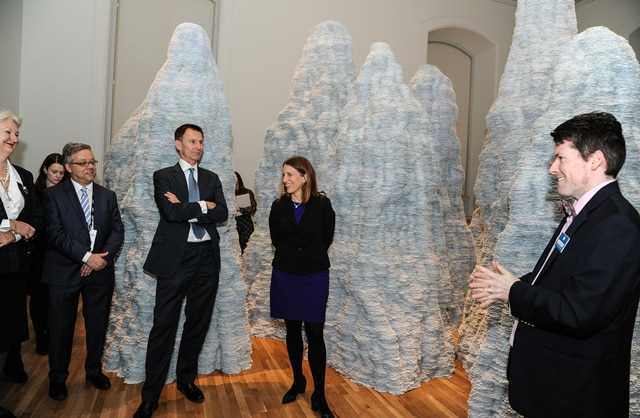 "Showing off Washington's wonderful Renwick Gallery with an expertly guided tour for our GHSI colleagues. Here we stopped by Tara Donovan's ""Untitled"", which uses everyday items like toothpicks, straws, and index cards to make these enormous sculptures."