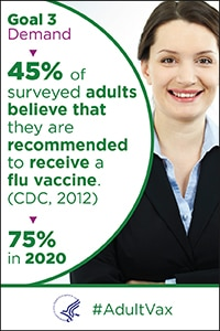 Goal 3 Demand - 45% of surveyed adults believe that they are recommended to receive a flu vaccine (CDC, 2012). 75% in 2020.