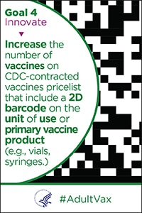 Goal 4 Innovate - Increase the number of vaccines on CDC-contracted vaccines pricelist that include a 2D barcode on the unit of use or primary vaccine product (e.g., vials, syringes).