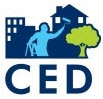 Community Economic Development logo of silhouette of a person in front of community buildings