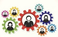 Employer support logo showing pictures in gears to symbolize the complexity of child support programs