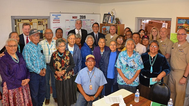 Deputy Secretary Hargan and the HHS team posing for a photo with Leupp Senior Center staff and attendees