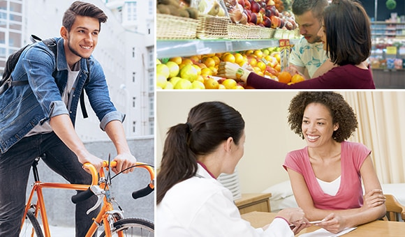 A young man rides a bike. Right/top: A man and woman look at fruit at the grocery store. Right/bottom: A women talks to a physician.