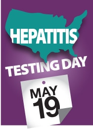 Hepatitis Testing Day (May 19) badge.