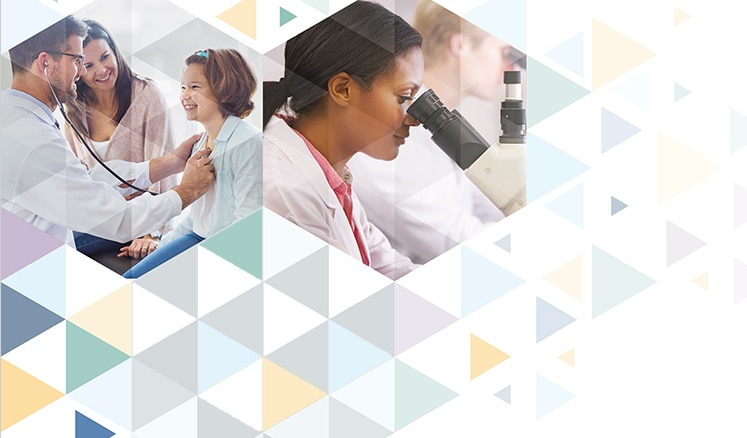 Collage with picture of a researcher and a doctor examining a girl while her mother looks on