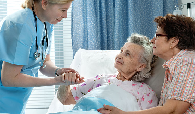 Patient receiving care at hospital