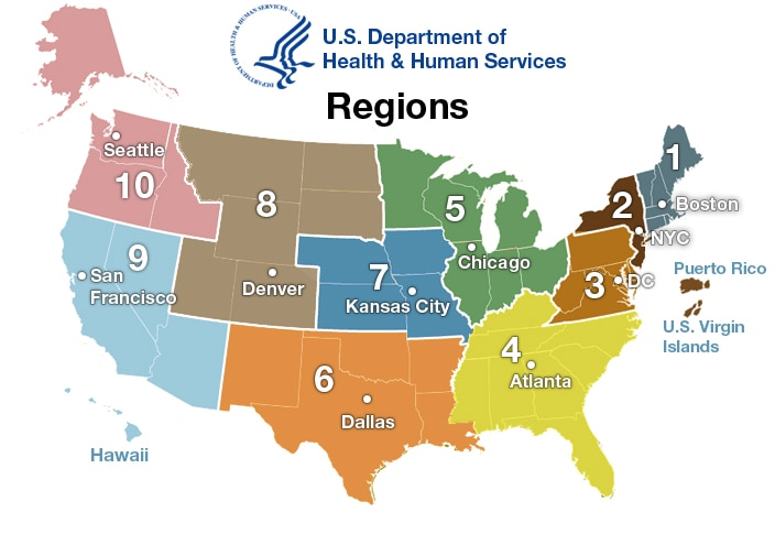 Regional Offices HHSgov - Us four regions map