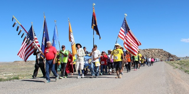 American Indians left their western tribal communities on foot to gather at the Four Corners Monument in an effort to raise awareness of health disparities. Photo Credit: Courtesy of the Indian Health Service (IHS).