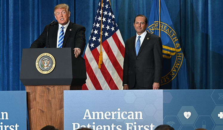 President Trump and Secretary Azar at HHS