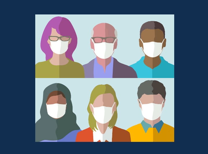 Illustration of a diverse group of people wearing masks