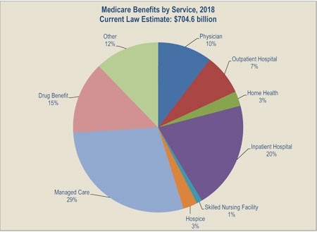 Medicare Benefits by Service 2018 chart