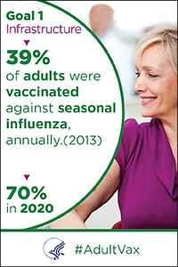 Goal 1 - Infrastructure - 39% of adults were vaccinated annually against seasonal influenza in 2013. The goal is 70% in 2020. #Adult Vax