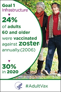 Goal 1 - Infrastructure - 24% of adults age 60 and older were vaccinated against zoster in 2006. The goal is 30% in 2020. #Adult Vax